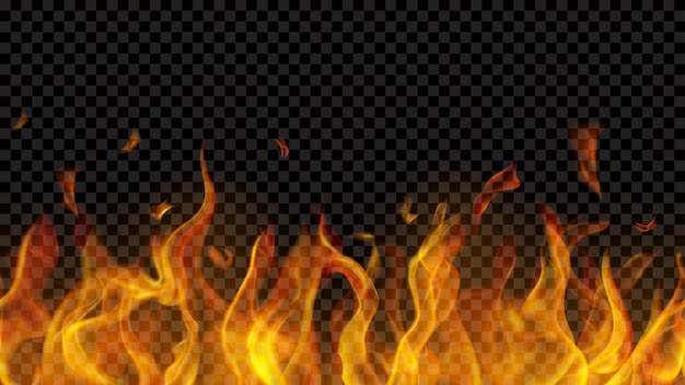 Chama de fogo translúcida com repetição sem costura horizontal em fundo transparente. para uso em fundos escuros. transparência apenas em formato vetorial