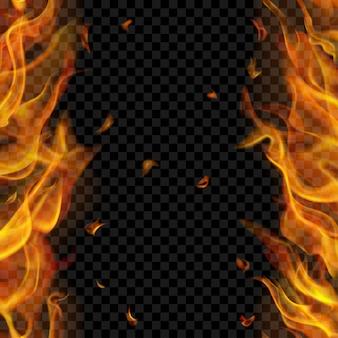 Chama de fogo translúcida com repetição sem costura vertical nos dois lados, esquerdo e direito, em fundo transparente.