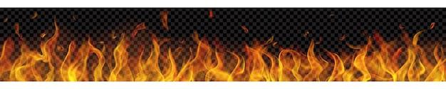 Chama de fogo translúcida longa com repetição sem costura horizontal em fundo transparente. para uso em fundos escuros. transparência apenas em formato vetorial