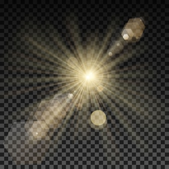 Chama de iluminação de vetor em fundo transparente