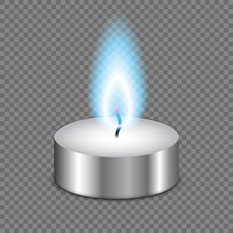 Chama de luz de vela isolada em fundo transparente