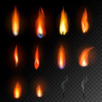 Chama de vela disparada à luz de velas em chamas e ilustração de luz de fogo inflamável flamejante conjunto brilhante queimar decoração para celebração isolada no fundo transparente preto