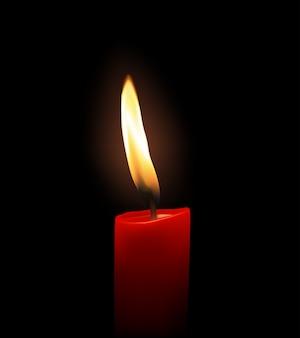 Chama de vela vermelha