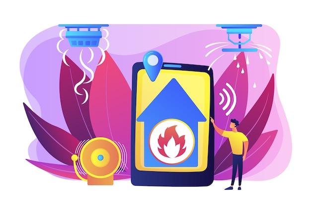 Chama em notificação remota de casa. casa inteligente, alta tecnologia. sistema de alarme de incêndio, métodos de prevenção de incêndio, conceito de alarme de fumaça e incêndio.