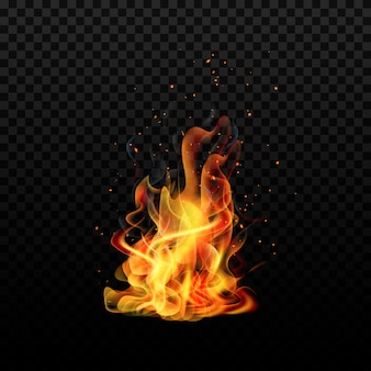 Chama. faíscas chamam. isolado. fogo realista.