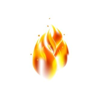 Chama. ilustração em vetor de elemento realista quente sobre fundo branco.