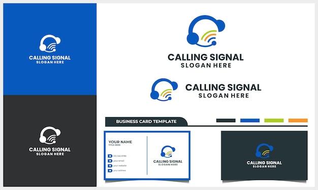 Chamada com conceito de design de logotipo de sinal e modelo de cartão de visita