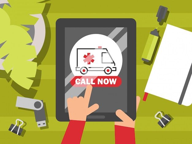 Chamada de ambulância de emergência, ilustração. conceito de aplicação de cuidados de saúde on-line, site do centro médico. h