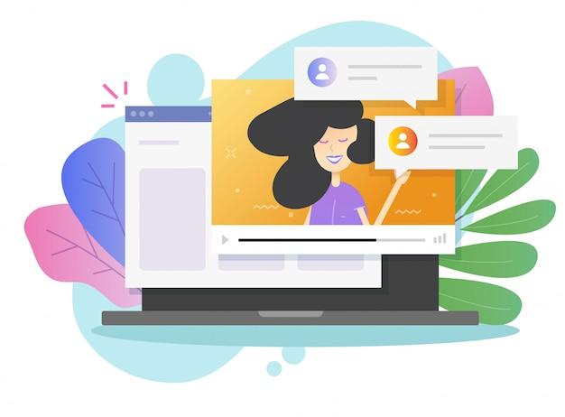 Chamada de chat por vídeo on-line com garota falando no computador portátil