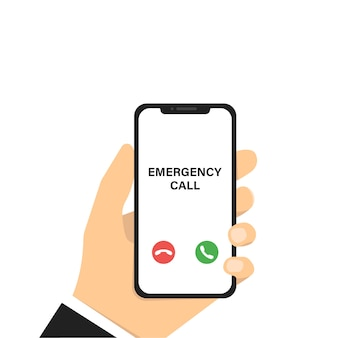 Chamada de emergência. mão segurando o telefone. smartphone de vetor com chamadas de emergência. maquete do telefone móvel. tecnologia de smartphone.