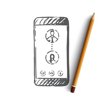 Chamada de smartphone desenhada à mão