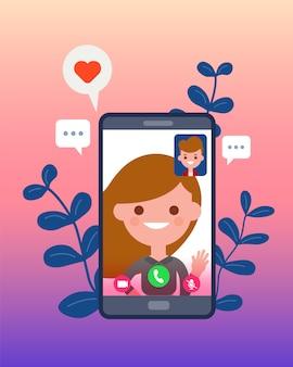 Chamada de vídeo com a namorada ou a esposa usando o smartphone. relacionamento a distância. personagens de desenhos animados de design plano.