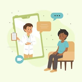 Chamada de vídeo com o conceito de terapeuta