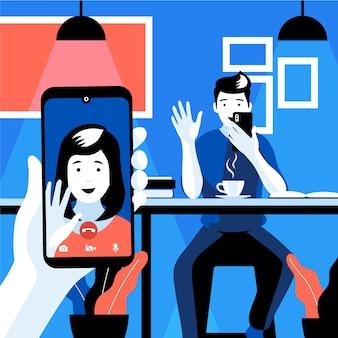 Chamada de vídeo de amigos no smartphone