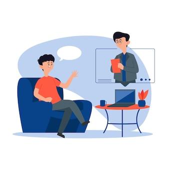 Chamada de vídeo e conversação on-line do terapeuta