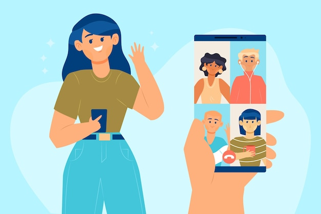 Chamada de vídeo em conferência entre amigos no celular