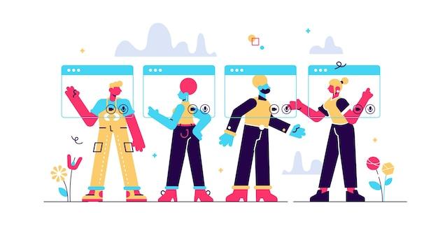 Chamada de vídeo em grupo, molduras de janelas virtuais, personagens jovens tendo uma reunião online.
