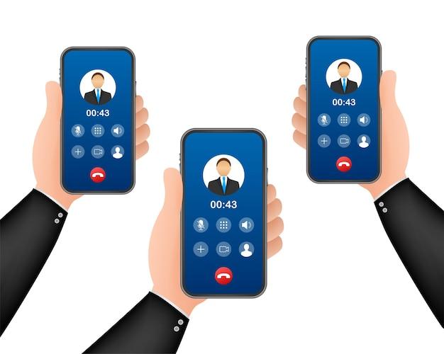 Chamada de vídeo recebida no laptop. laptop com chamada recebida, foto do perfil do homem e aceitar botões de recusa. ilustração em vetor das ações.