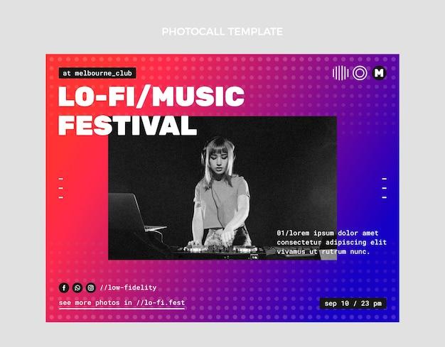 Chamada fotográfica do festival de música em meio-tom gradiente