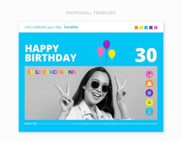 Chamada fotográfica plana mínima de aniversário