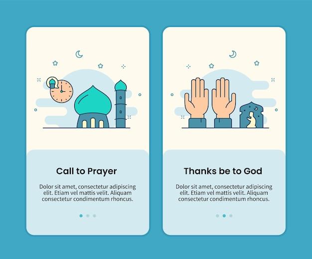 Chamada para a oração e graças a deus conjunto de páginas para celular