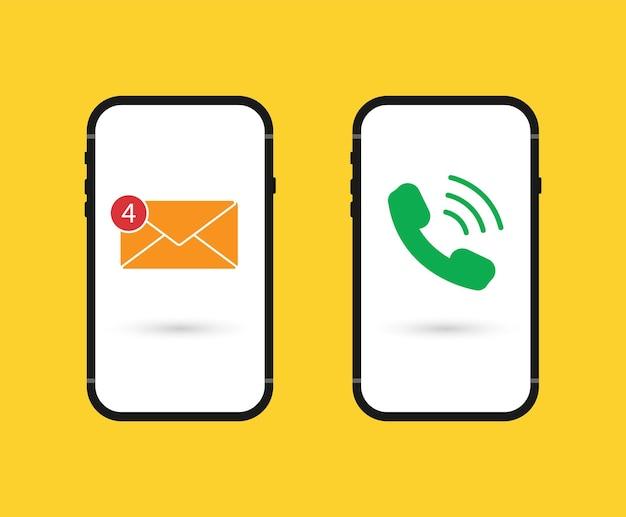 Chamada recebida e nova mensagem na tela do smartphone