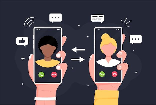 Chamada recebida na tela do smartphone ilustração em vetor design plano