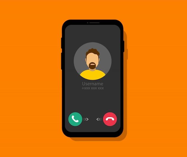 Chamada recebida no telefone. tela do smartphone com a chamada recebida. interface de chamada telefônica. estilo simples