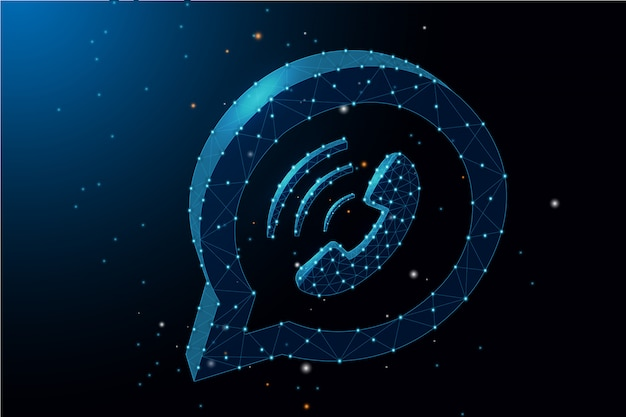 Chamada telefônica conceito bate-papo baixa ilustração poligonal - armação de arame em fundo azul