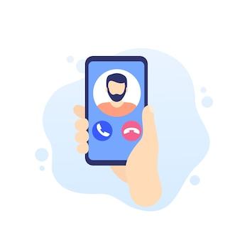 Chamada telefônica, smartphone em ícone de mão