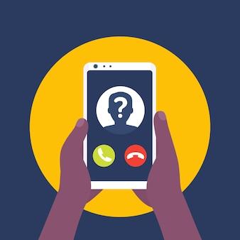 Chamador desconhecido, chamada telefônica, smartphone em ícone de vetor de mãos