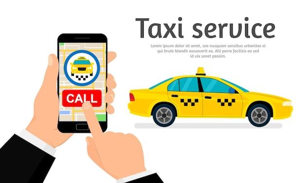 Chamar táxi via ilustração de aplicativo móvel