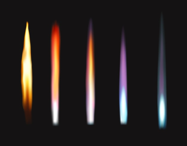 Chamas coloridas de fogo do queimador de bunsen, teste de ciências