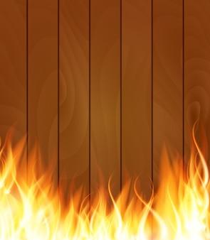 Chamas de efeito de luz especial de fogo ardente em fundo de tábuas de madeira