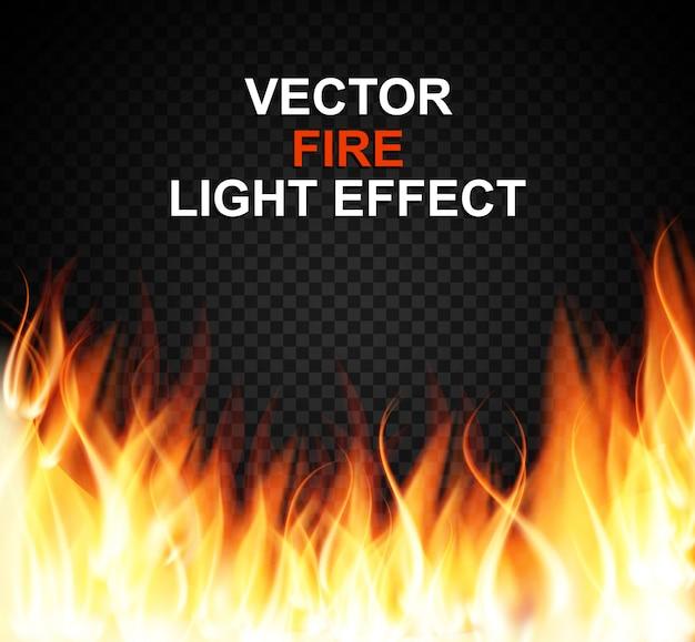 Chamas de efeito de luz especial de fogo ardente em transparente