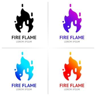 Chamas de fogo com faíscas conjunto colorido
