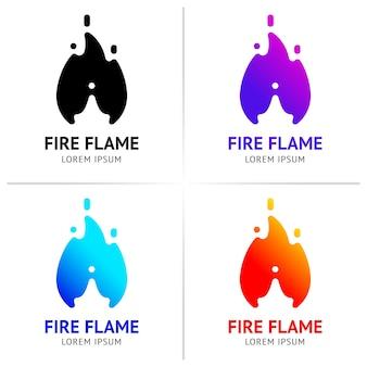 Chamas de fogo com faíscas, conjunto colorido