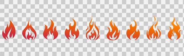 Chamas de fogo. conjunto de ícones de fogo. símbolos de fogo. ilustração vetorial.