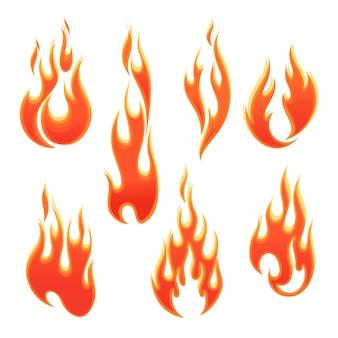 Chamas de fogo de formas diferentes em ilustração vetorial de fundo branco