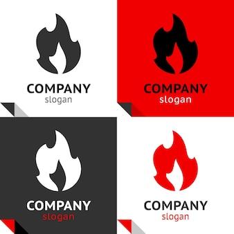 Chamas de fogo definem ícones para seu logotipo, símbolos de vetores