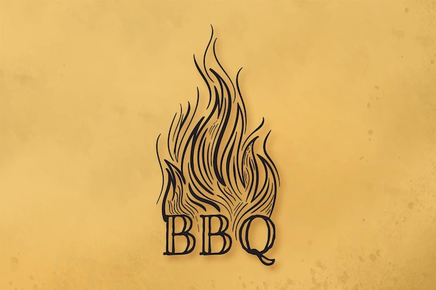 Chamas de fogo, design de logotipo para churrasco