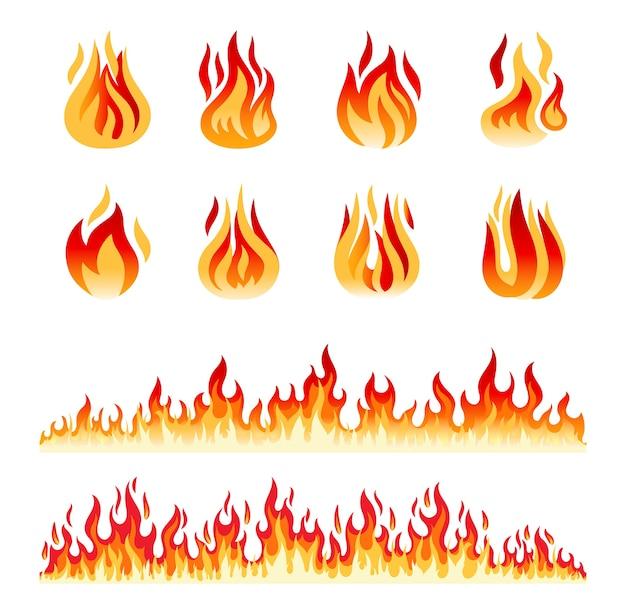 Chamas de fogo isoladas em branco