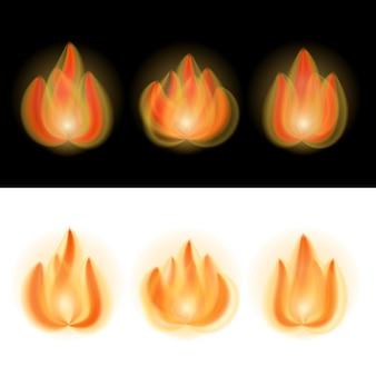 Chamas de fogo isoladas