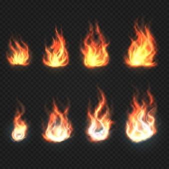 Chamas de fogo isolado poder e energia símbolos vetoriais conjunto