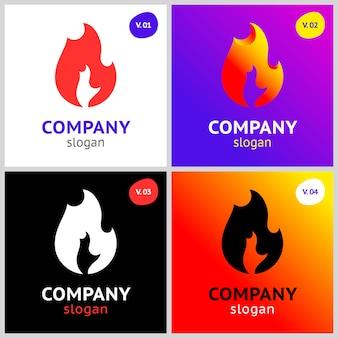 Chamas de fogo, modelo de logotipo para seu projeto.
