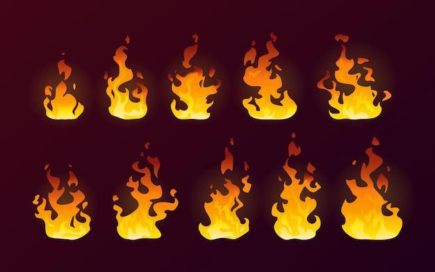 Chamas de fogo queimando conjunto plano isolado de desenho animado