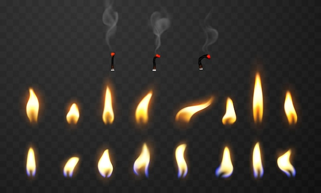 Chamas de fogo queimando faíscas realistas