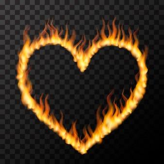 Chamas de fogo realista brilhante em forma de coração, conceito de amor quente na transparente