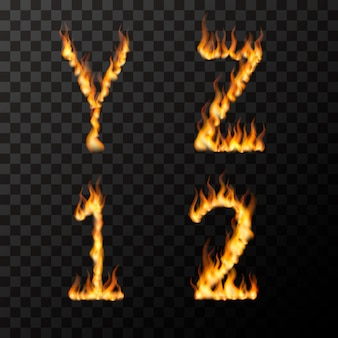 Chamas de fogo realista brilhante em forma de letras yz 1 2, conceito de fonte quente na transparente