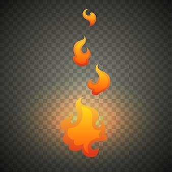 Chamas de fogo realista isoladas em transparente